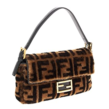5986421ac Amazon.com: Fendi FF Logo Printed Sheepskin Fur Baguette: TheLuxuryClub