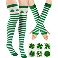 506e56ca8c Zhanmai St. Patrick's Day Stripe Knee Thigh High Socks Arm Warmer Gloves  with 12 Pieces