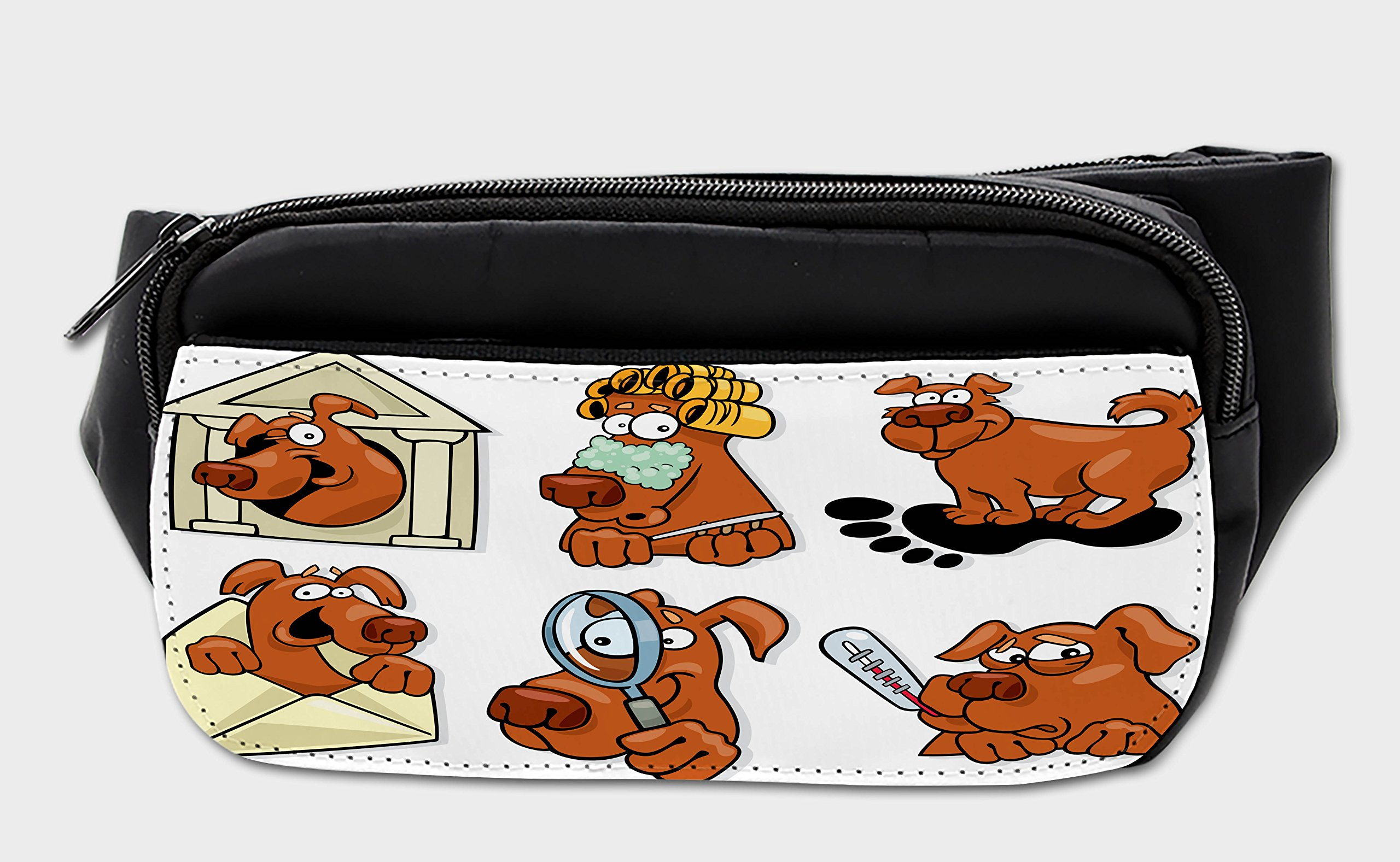 Lunarable Dog Lover Bumbag, Beauty Spa Theme Canine, Fanny Pack Hip Waist Bag