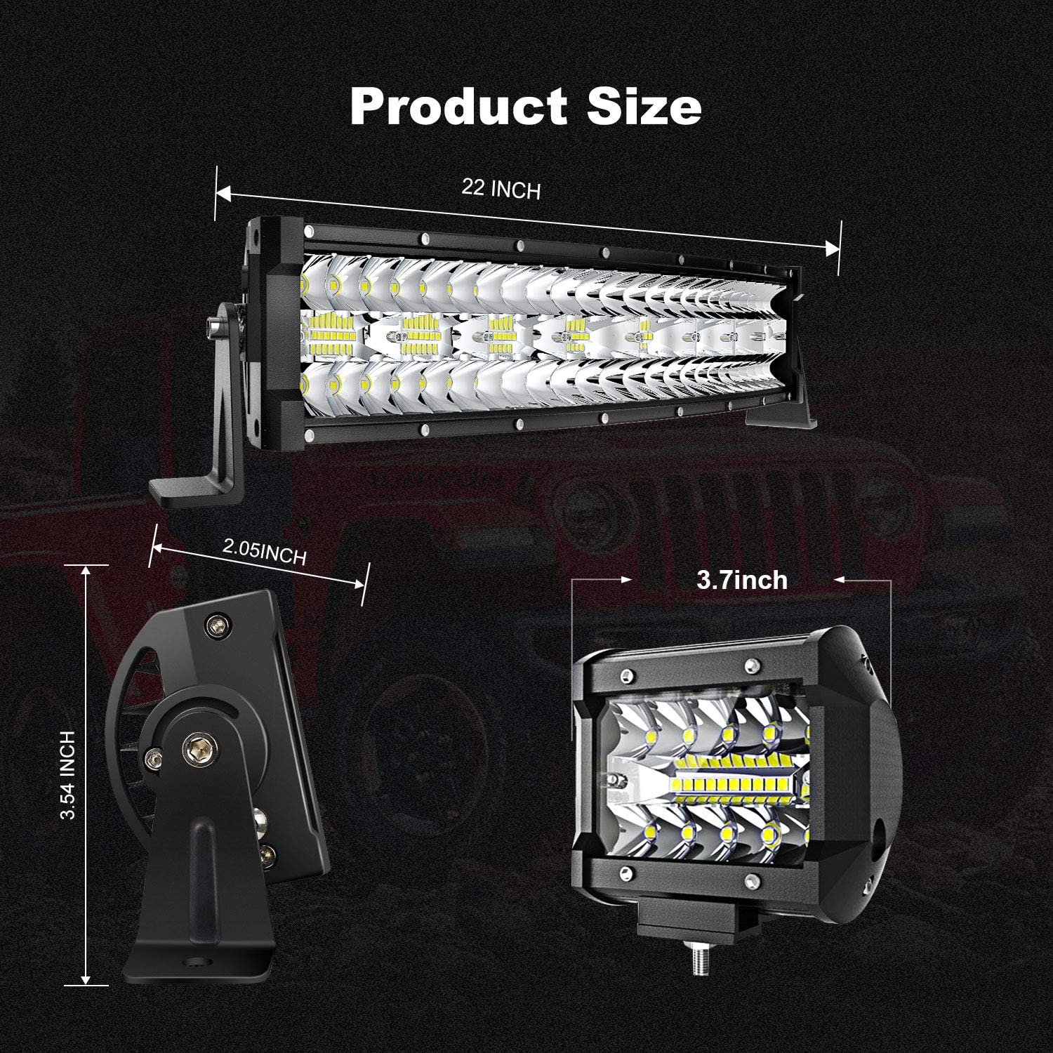 32 LED Light Bar Curved TERRAIN VISION Triple Row 585W Flood Spot Combo Beam Off Road Lights 2pc 4inch 60W Driving Fog Lights with Rocker Switch Harness Wiring for Trucks ATV UTV Jeep Boat Pickup