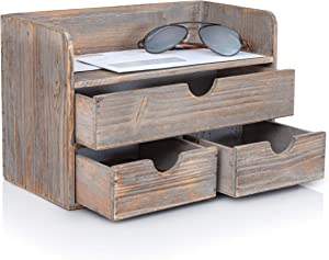Besti Wooden Office Desk Organizer - Organizing Tool for Desktop, Cubicle, Bedroom, Kitchen - Vintage Style, Rustic Wood Holder - Organization Caddy with Top Tray Shelf & 3 Drawers - 13.6x9x7 Inches