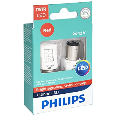 Philips 1157RLED Ultinon LED Bulb (Red), 2 Pack: Automotive