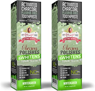 product image for My Magic Mud Charcoal Teeth Whitening Toothpaste, Verified Enamel Safe & Clinically Proven, Organic Coconut Oil, Essential Oils, Best Natural Whitener, Fluoride-Free, Vegan, Wintergreen 2-Pack (4oz)