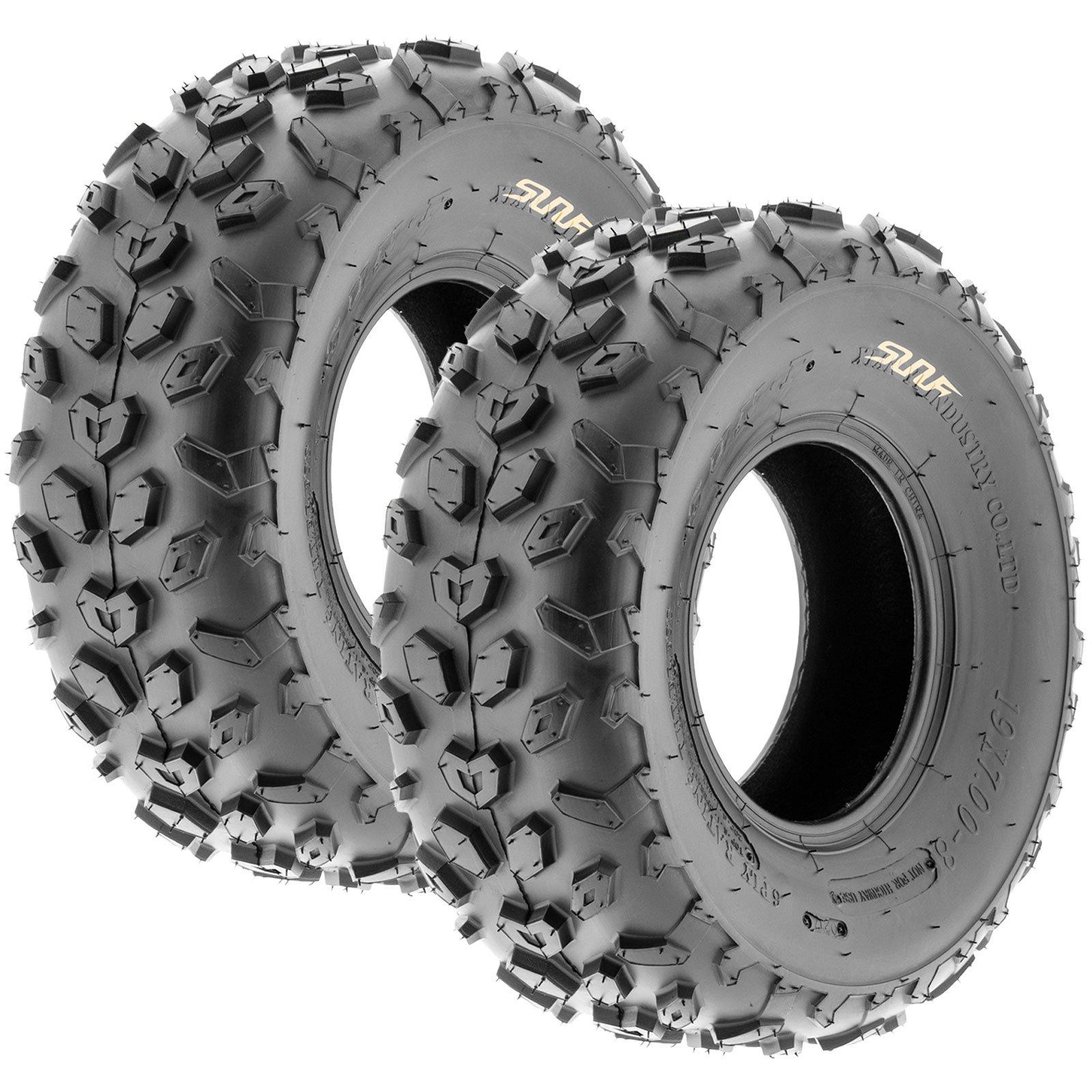 SunF A014 XC-Sport ATV & Go Kart 19x7-8 Knobby Tires, 6 PR, Tubeless (Pair of 2)
