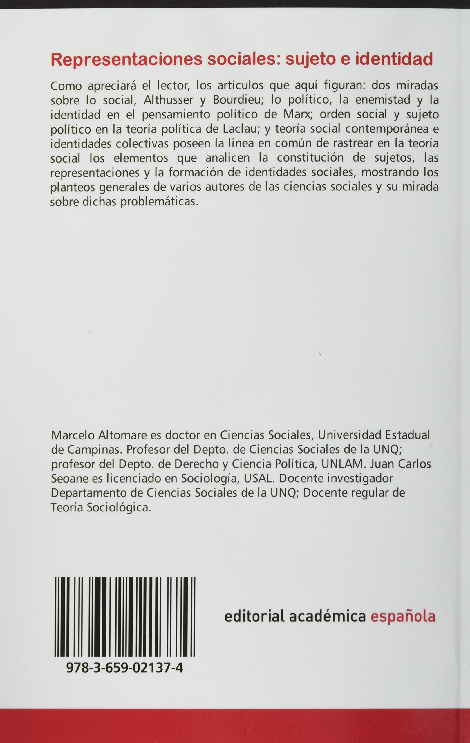Representaciones sociales: sujeto e identidad (Spanish Edition): Seoane Juan Carlos, Altomare Marcelo: 9783659021374: Amazon.com: Books