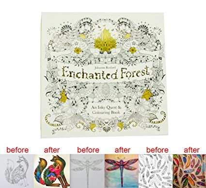 MENGCORE 25cm X 96 Pages English Enchanted Forest Coloring Books For Adults Relieve Stress Kill