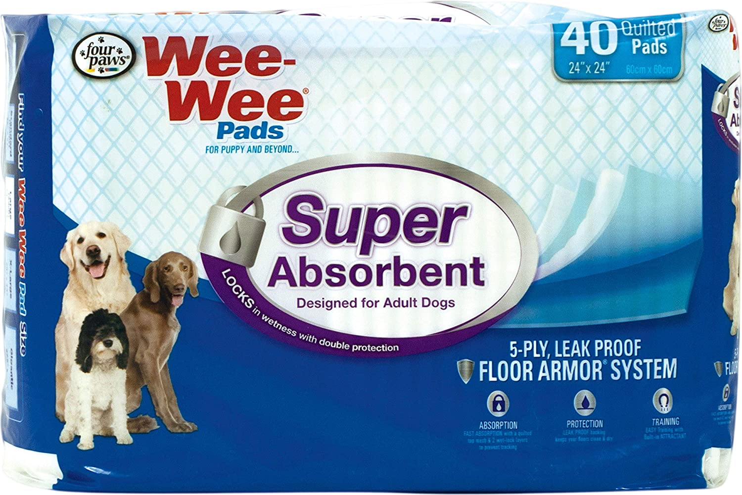 Four Paws Super Absorbent Wee-Wee Dog Pads 40 ct