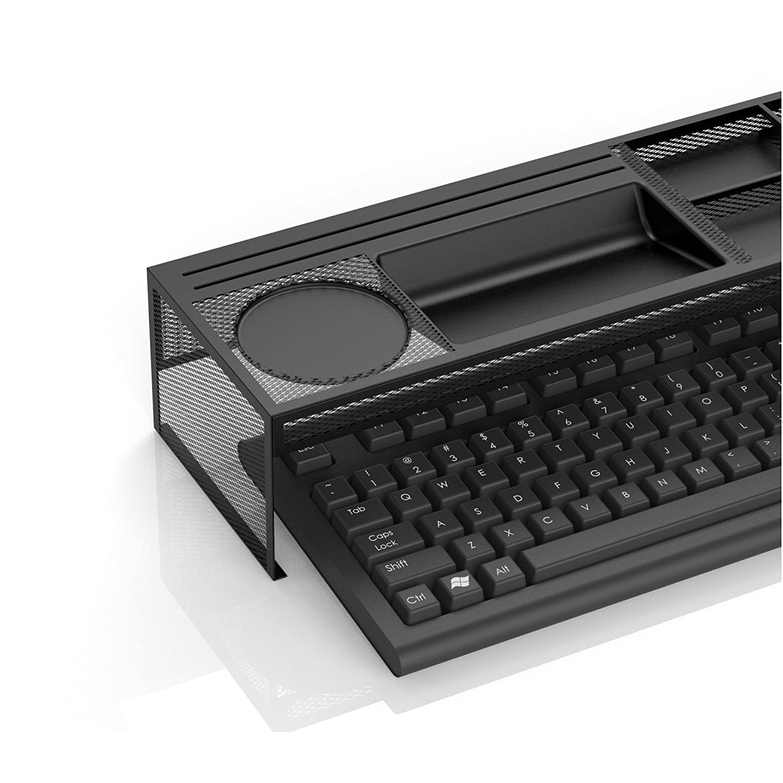 Space Saver Mind Reader BMUKEYB-BRN Keyboard Desk Organizer Bamboo Brown Office Organizer Work Station