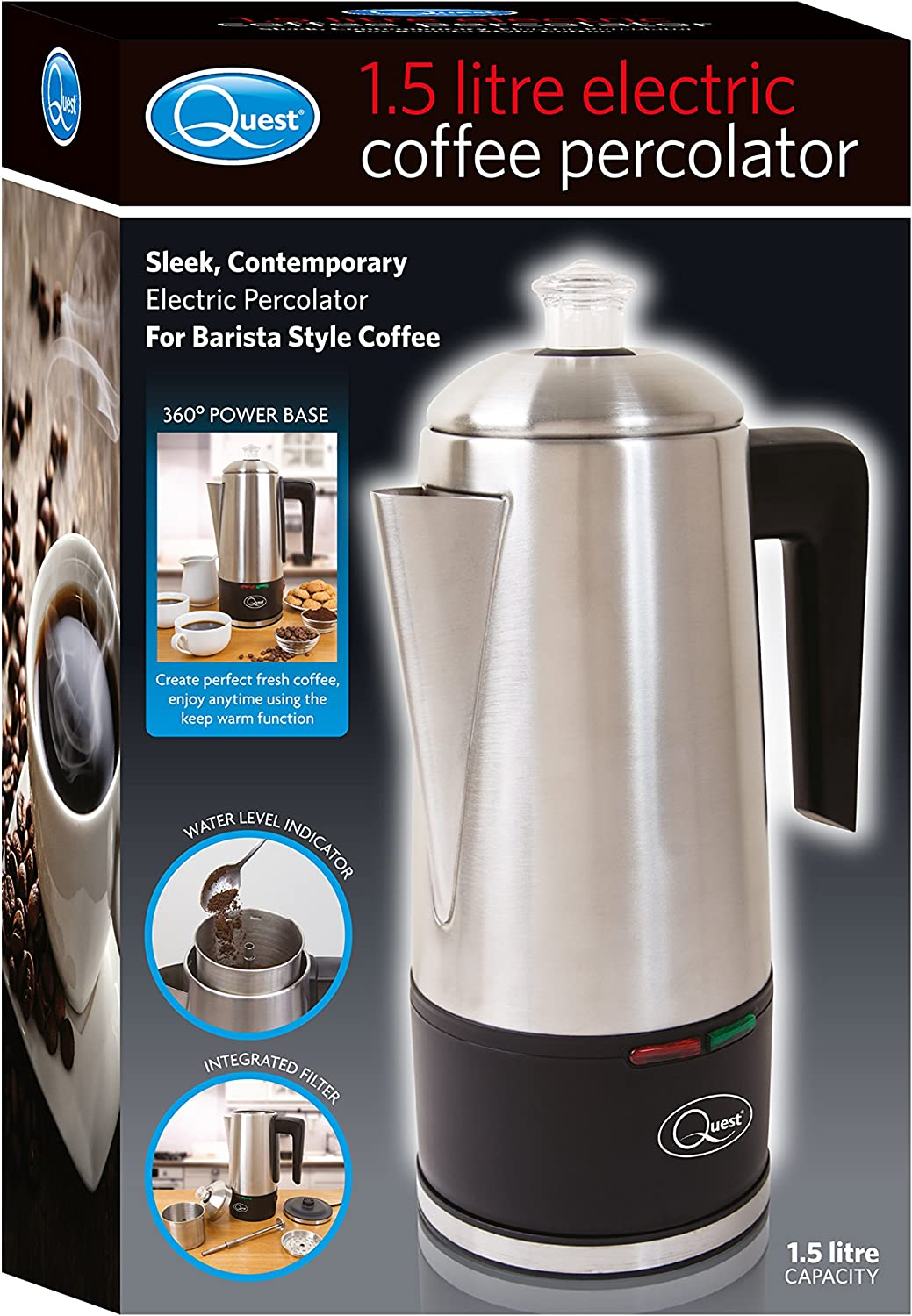 Quest 35200 Stainless Steel Cordless Electric Coffee Percolator With Integrated Filter 15 Litre 1100 W Silver 21 X 33 X 14cm 1000 W 18 Liters
