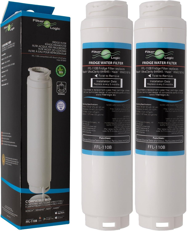 2 x FilterLogic FFL-110B Filtre à eau compatible aux UltraClarity 00740560 , 740560 / 644845 pour BOSCH SIEMENS NEFF MIELE HAIER Hotpoint Ariston frigo américain - Ultra Clarity 9000733786 VIB-Z4500W0