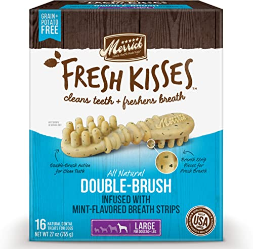 Merrick Fresh Kisses Double-Brush Mint Breath Strip Infused Large Dental Dog Treats