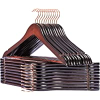Smartor Wooden Hangers 20 Pack Wood Coat Hangers Rose Gold Hook Heavy Duty Clothes Hanger Natural Smooth Finish Premium Wood Hangers for Clothes Suit Brown