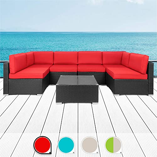 Walsunny 7pcs Patio Outdoor Furniture Sets,Low Back All-Weather Rattan Sectional Sofa with Tea Table Washable Couch Cushions Black Rattan Red