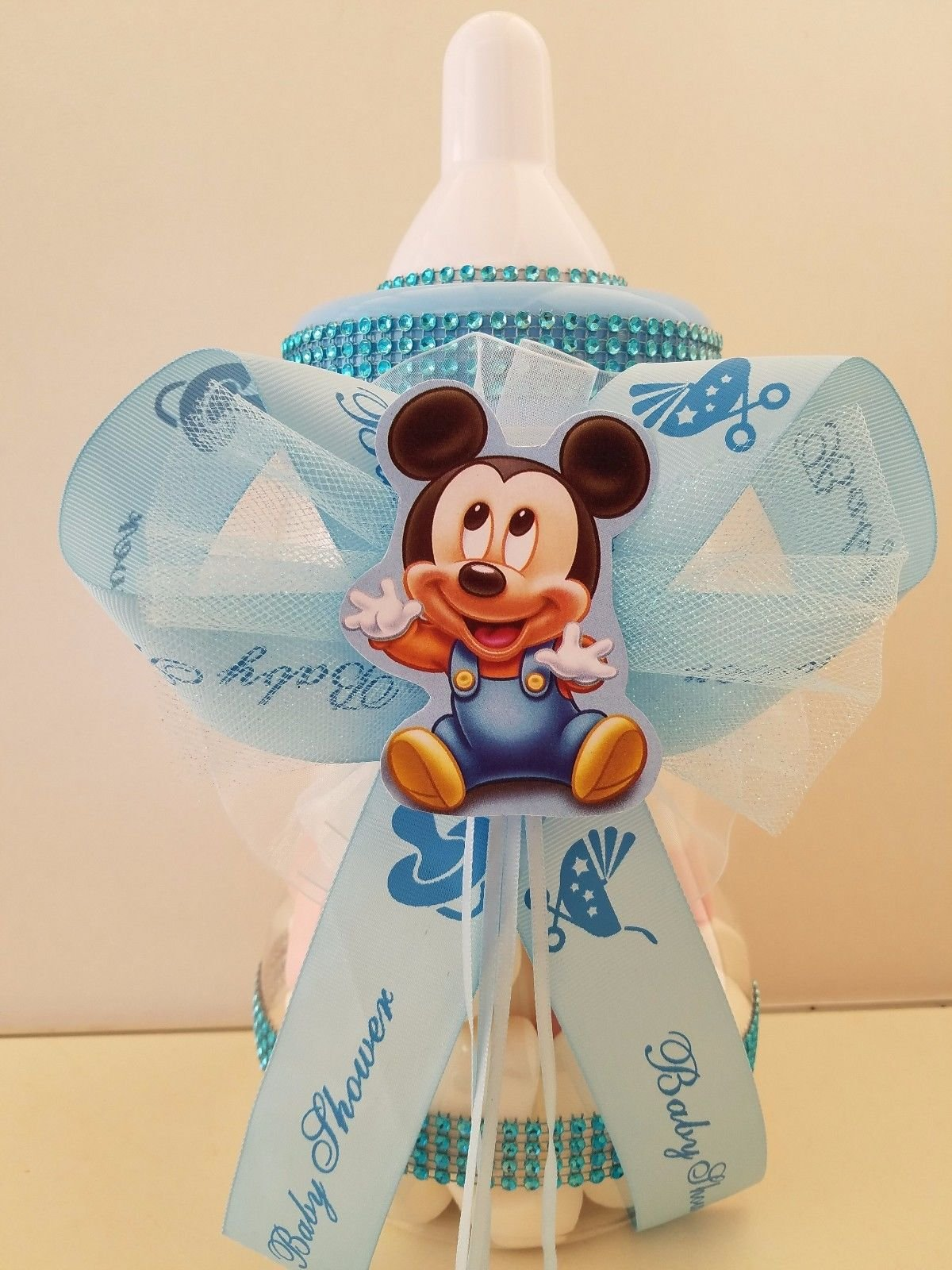 Mickey Mouse Centerpiece Bottle Large 12'' Baby Shower Piggy Bank Boy Decoration by Product789