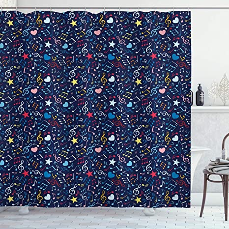 Amazon Com Ambesonne Music Shower Curtain Hearts Notes Stars Melodic Inspiration Musical Lifestyle Rhythm In My Heart Design Cloth Fabric Bathroom Decor Set With Hooks 75 Long Multicolor Home Kitchen