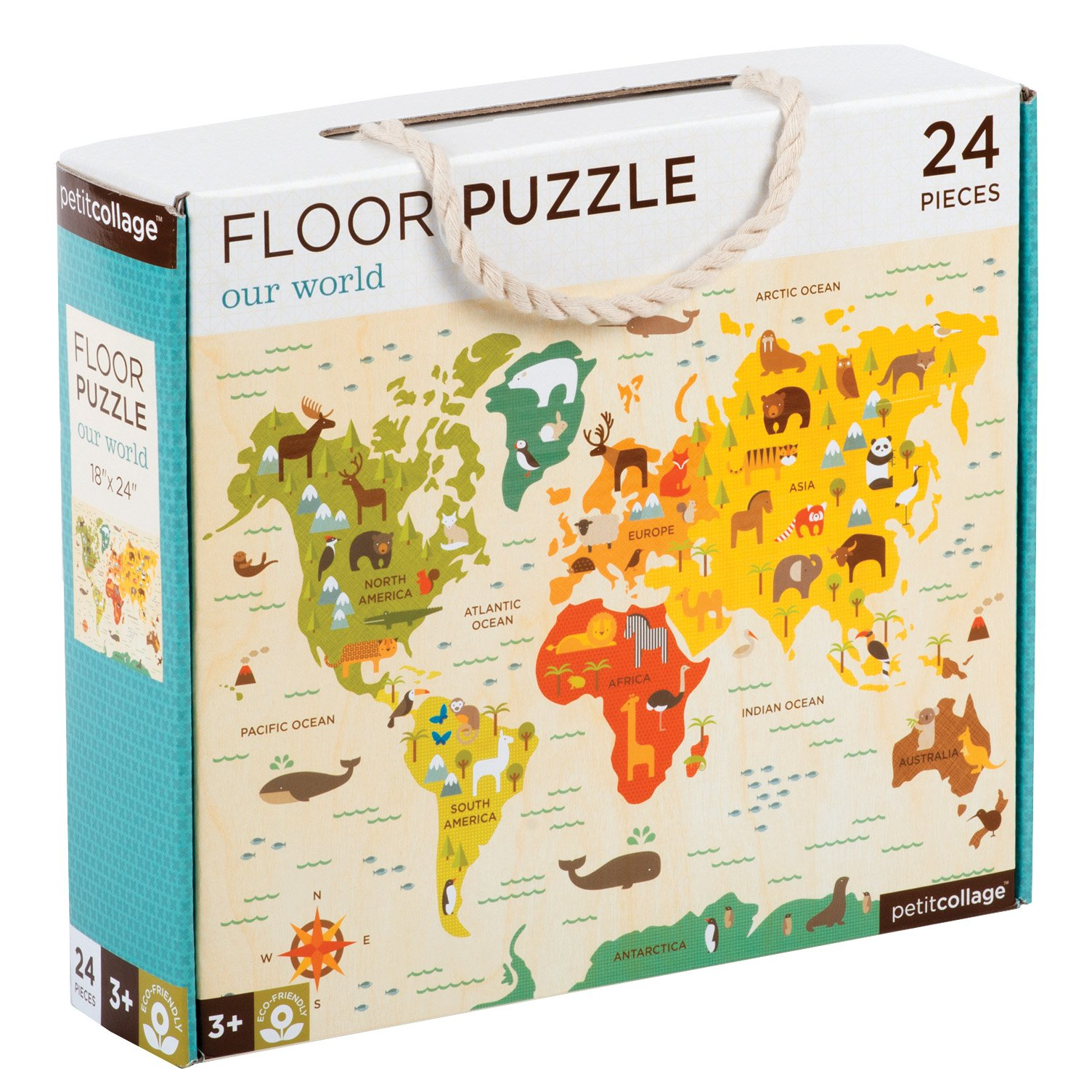 Petit Collage Floor Puzzle, Our World, 24 Pieces by Petit Collage