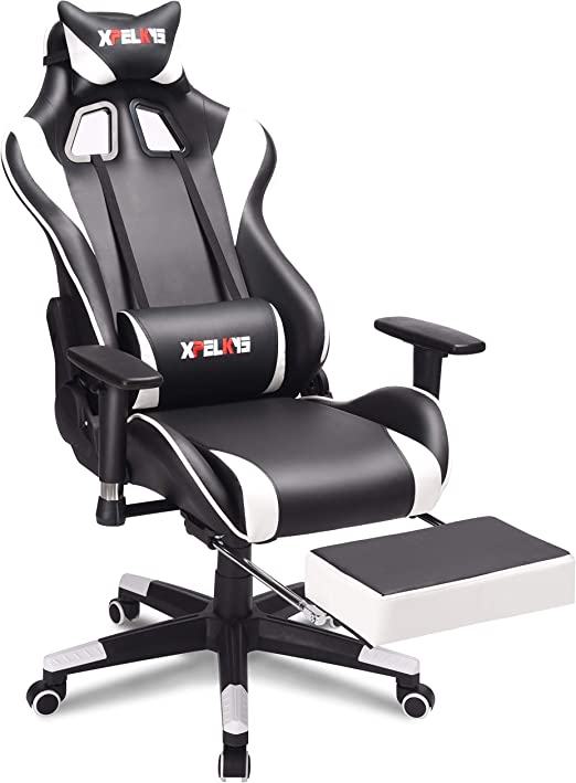 Reclining Ergonomic PU Leather Executive Office Chair with Footrest and Adjustable Armrests XPELKYS Racing Style Height-Adjustable High-Back PC Computer Gaming Chair