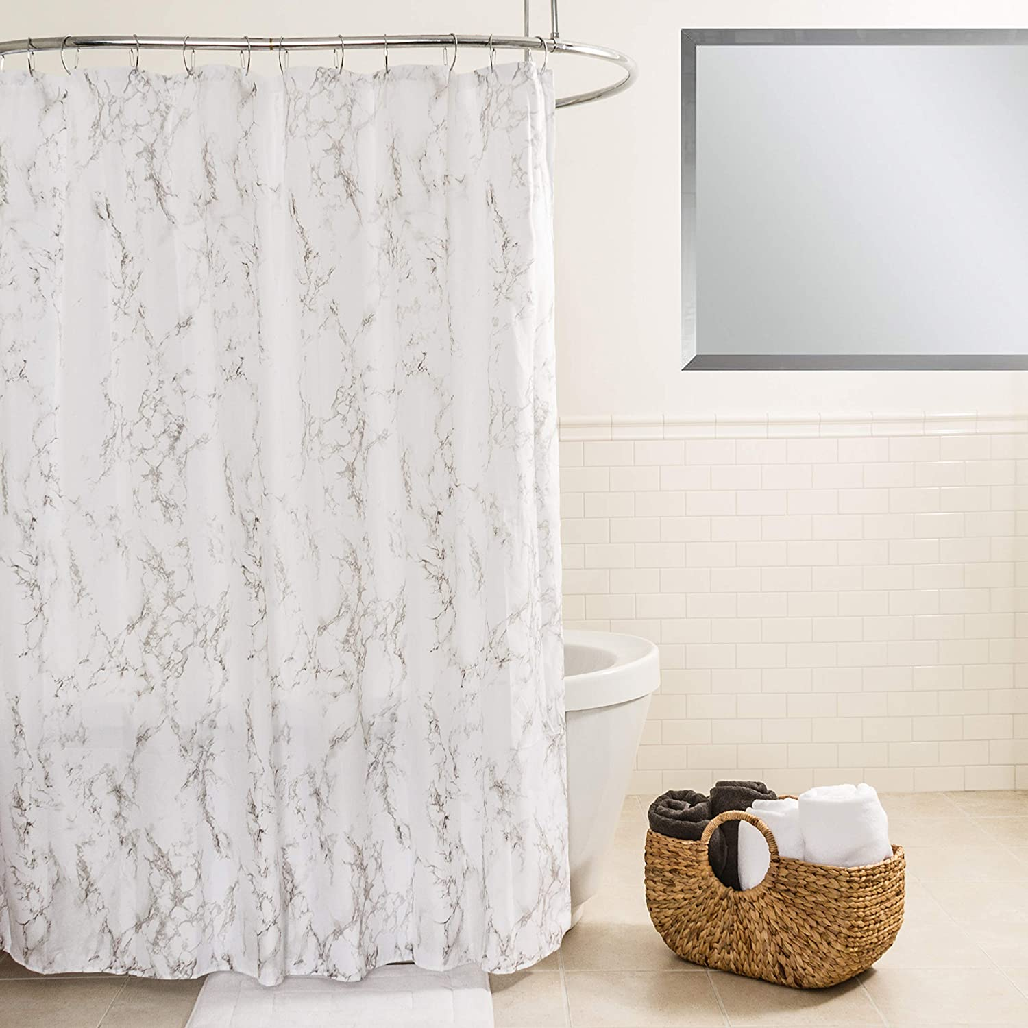 """Splash Home Marble Polyester Fabric Shower Curtain, 70"""" x 72"""", Grey"""