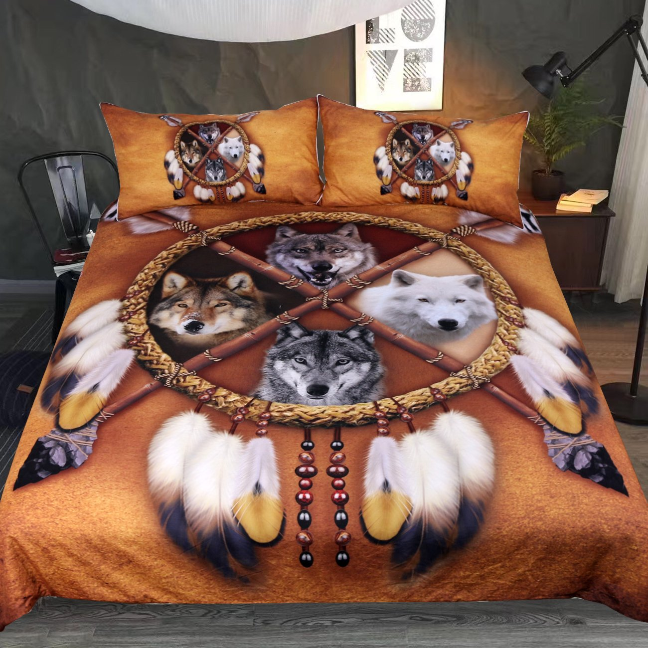 Sleepwish Wolf Dream Catcher Bedspread Native American Bedding Wolf Quilt Cover Golden Brown Indian Duvet Cover (Twin,55x82 3pcs, 4 Wolves Dreamcatcher) 55x82 3pcs Youhao SQS011337006