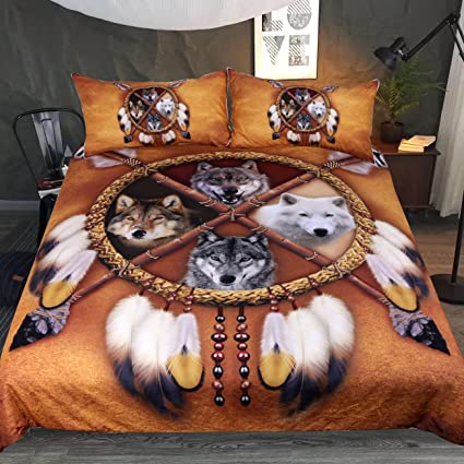 Amazon Com Sleepwish 4 Wolves Dreamcatcher Bedding Native American