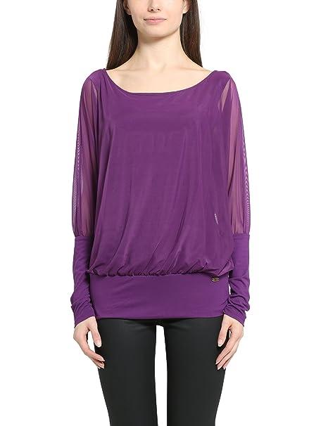 Berydale Camiseta de manga larga con mangas de murciélago y top interior, Púrpura, 34