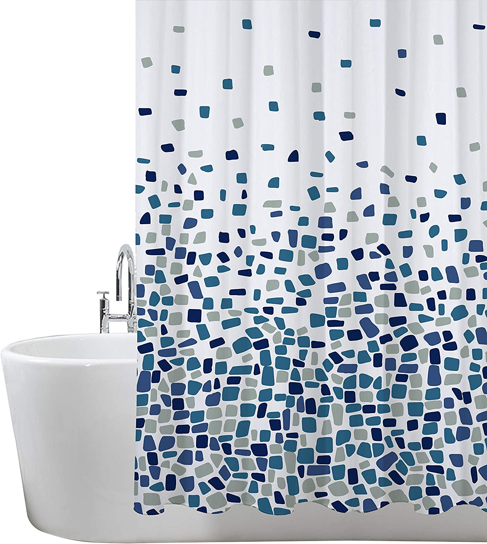 Cortinas de Ducha, para baño, bañera, Impermeable, Resistente al Moho, Anti Moho y Impermeables 180 x 180 cm (71 x 71 Pulgada) | 100% Polyester - diseño de Mosaico, Azul