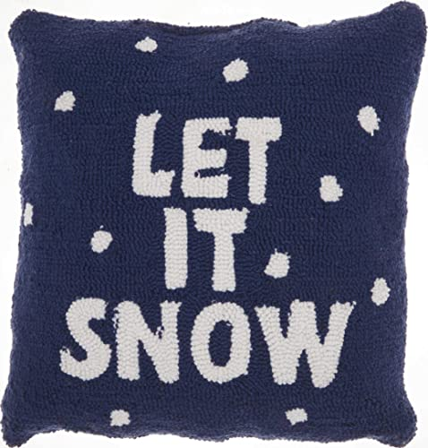 Mina Victory Home Let It Snow Multicolor Holiday Throw Pillow, 18 x 18 ,