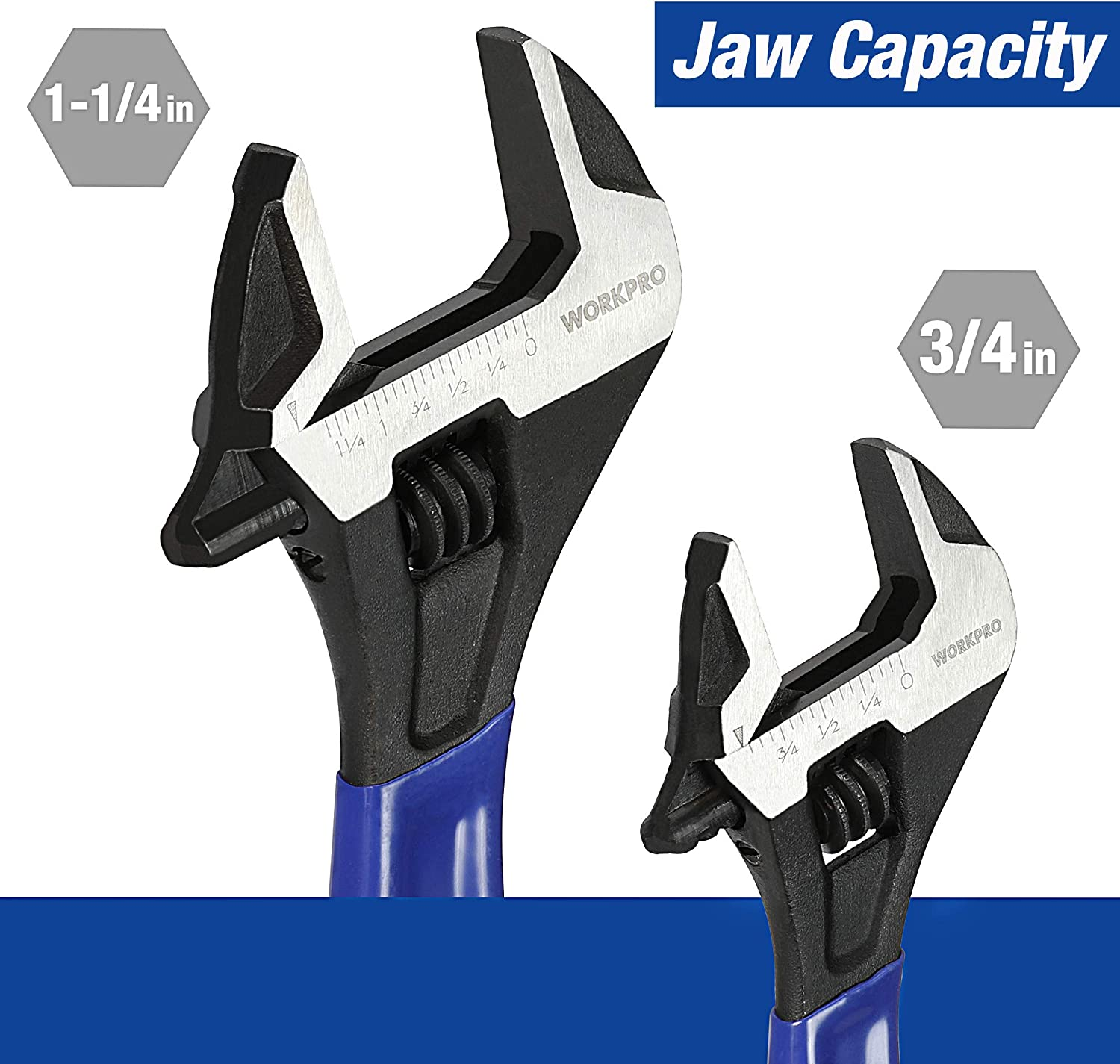 Extra-Wide Jaw Black Oxide Wrench 6-Inch /& 10-Inch Workshop Garage WORKPRO 2-piece Adjustable Wrench Set Mechanic and DIY for Home Metric /& SAE Scales Cushion Grip Wrench Construction Worker