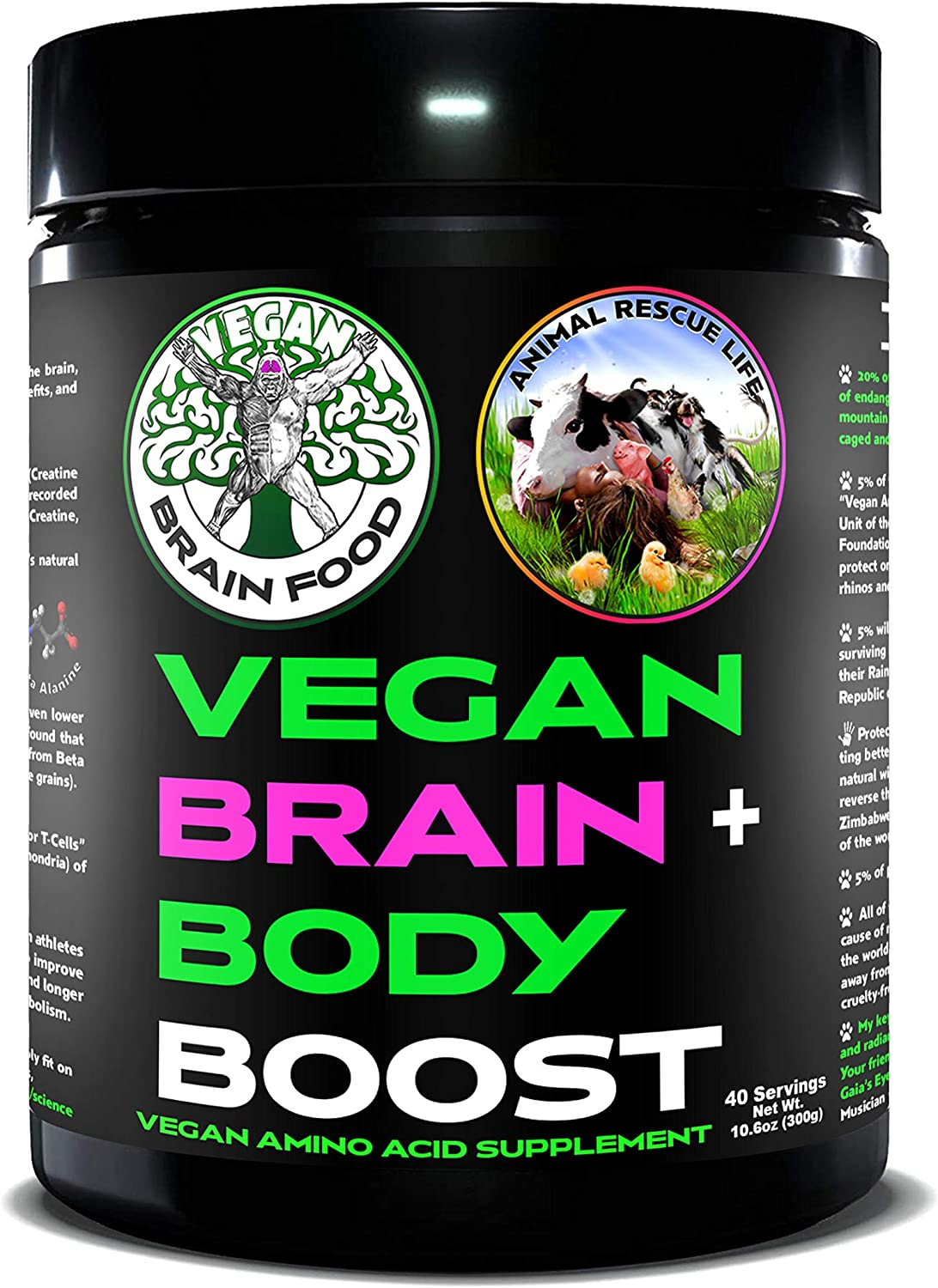 Vegan Brain & Body Boost - 40 Servings | Anti-Aging | Fat Burning & Physical Fitness | Immune Boost | Sexual Health | Amino Acids Missing from Plant-Based Diet | Brain Health & Working Intelligence