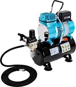 Master Airbrush 1/5 HP Cool Runner II Dual Fan Tank Air Compressor Kit Model TC-326T - Professional Single-Piston with 2 Cooling Fans, Runs Longer Without Overheating - Regulator Water Trap, Holder