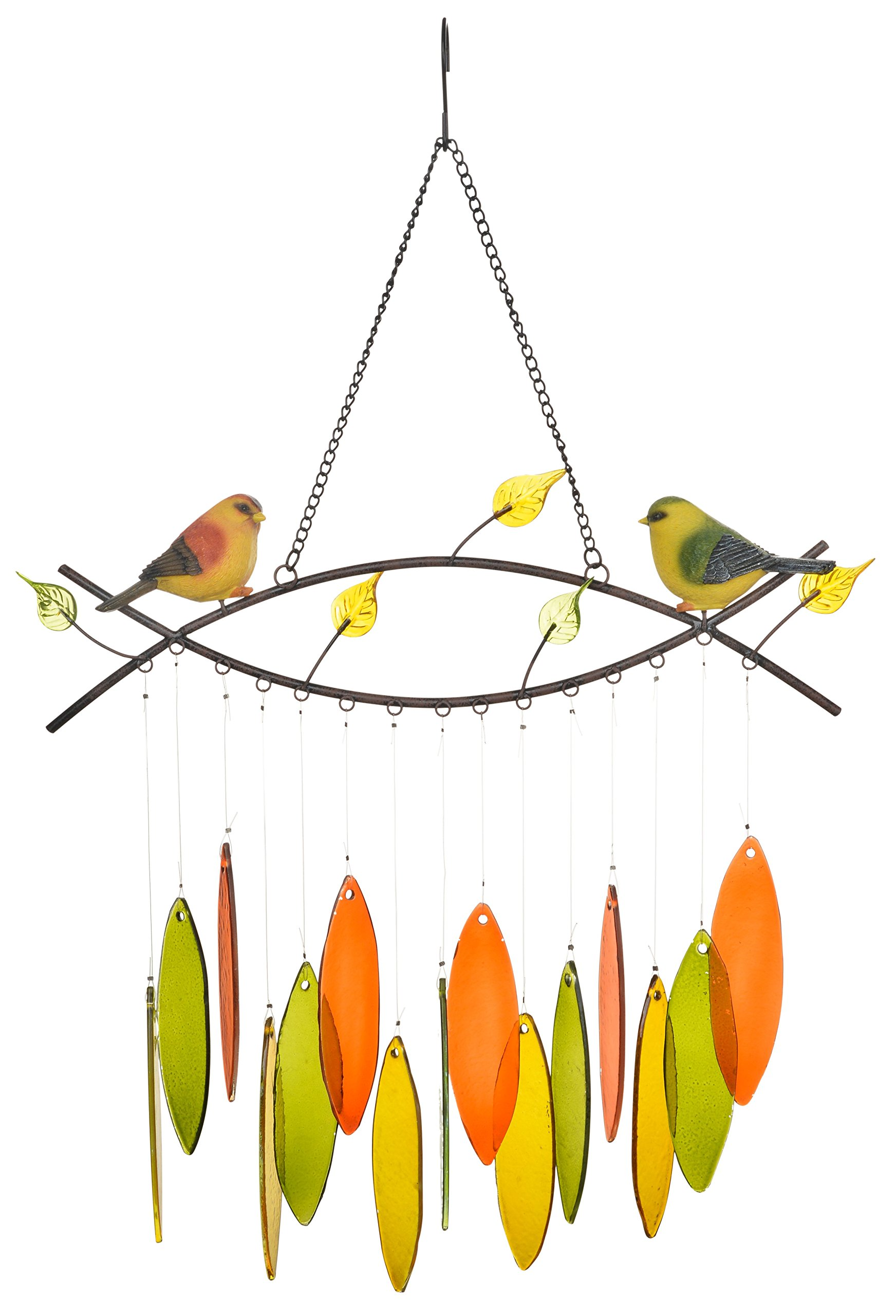 """SpringHut Wind Chimes Unique Spring Themed Rustic Design with Colorful Stained Glass Leaves, 22"""" Long, Made for both Indoor and Outdoor, Great Decor for Your Patio and Garden"""