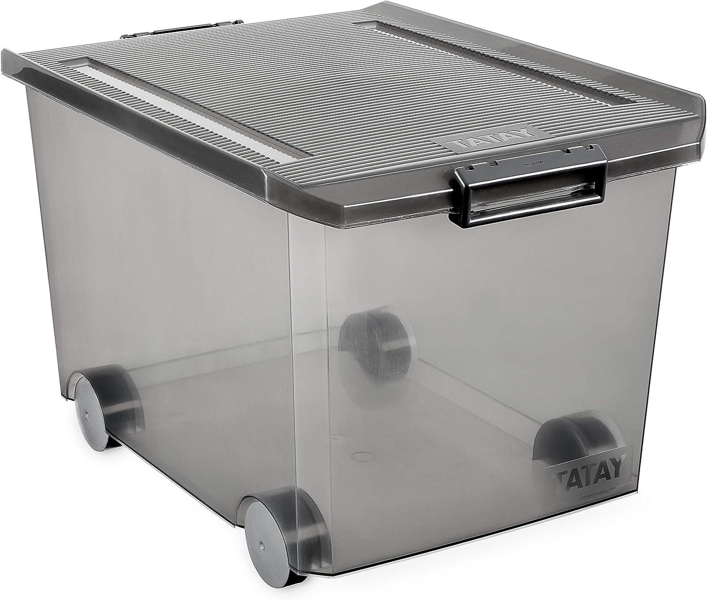 Tatay Caja de Almacenamiento con Ruedas, 60 L de Capacidad, 37,7 x 47,5 x 26, Color Gris Translúcida, PP Libre de Bpa
