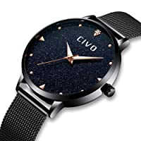 CIVO Relojes para Mujer de Acero Inoxidable de Malla Impermeable Relojes Señoras Chicas Adolescentes Fresco Moda Espacio Moda Negocios Casual Reloj Analógico Negro