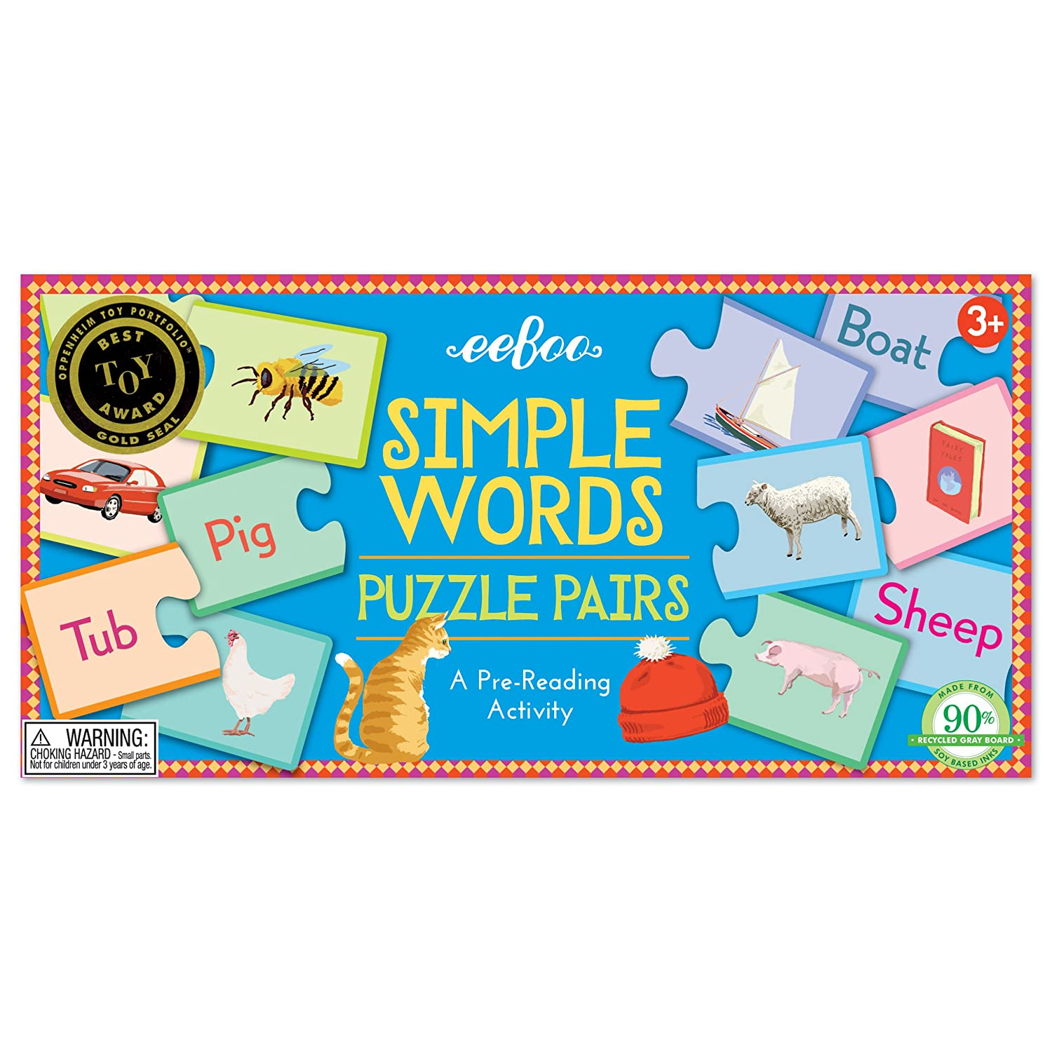 Amazon.com: eeBoo Simple Words Puzzle Pairs Matching Game: Toys & Games