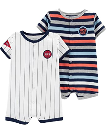 ac095f9d1b91 Amazon.com  Carter s Baby Boys  2-Pack Snap Up Romper  Clothing