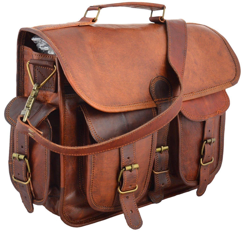 Shakun Leather Real Goat Leather Vintage Brown Messenger Laptop Bag, One Size, NEW 5SLJ003
