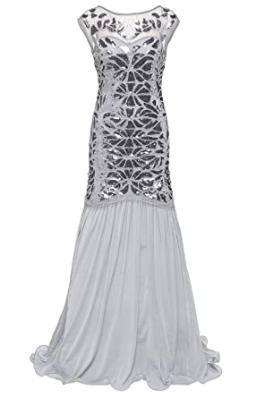 BABEYOND 1920s Art Deco Flapper Dress Long Embellished Sequin Beaded Party Dress for Women 20s Vintage