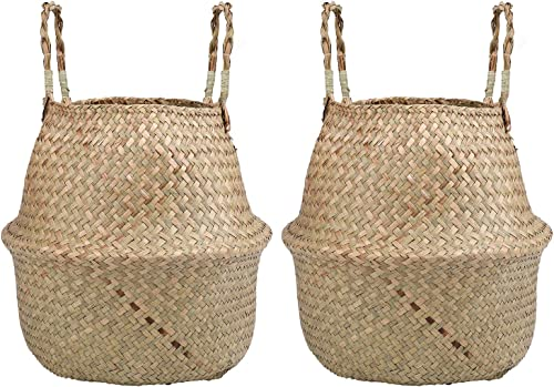 Yesland 2 Pack Woven Seagrass Plant Basket with Handles, Ideal for Storage Plant Pot Basket, Laundry, Picnic, Plant Pot Cover, Beach Bag and Grocery Basket L