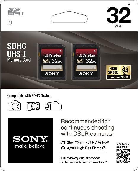 Amazon.com: Sony Media SDHC UHS-1 Class 10 – Tarjeta de ...