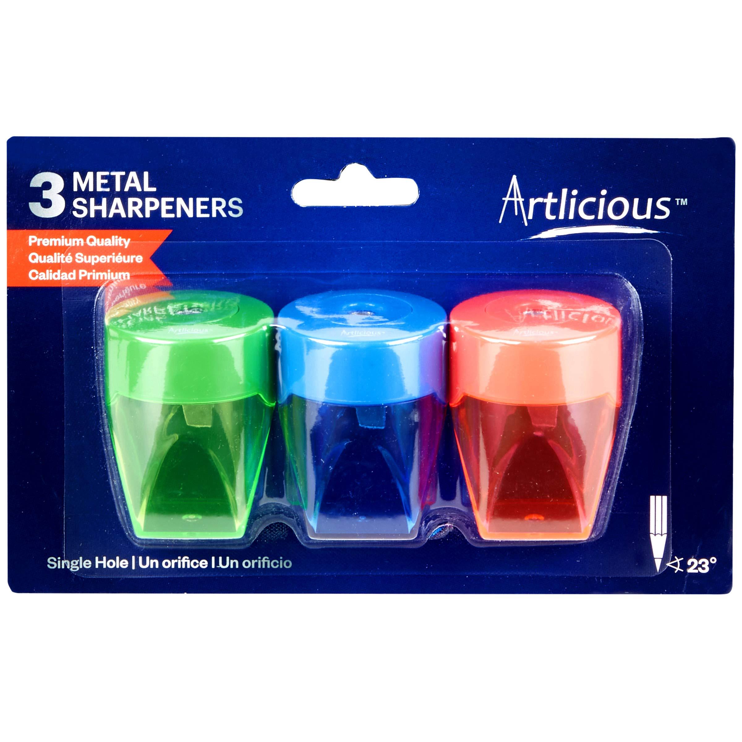 Artlicious 3 Colorful Compact Metal Pencil Sharpener Value Pack - Colored Pencils, Watercolor Pencils, School Pencils by Sorillo Brands (Image #2)