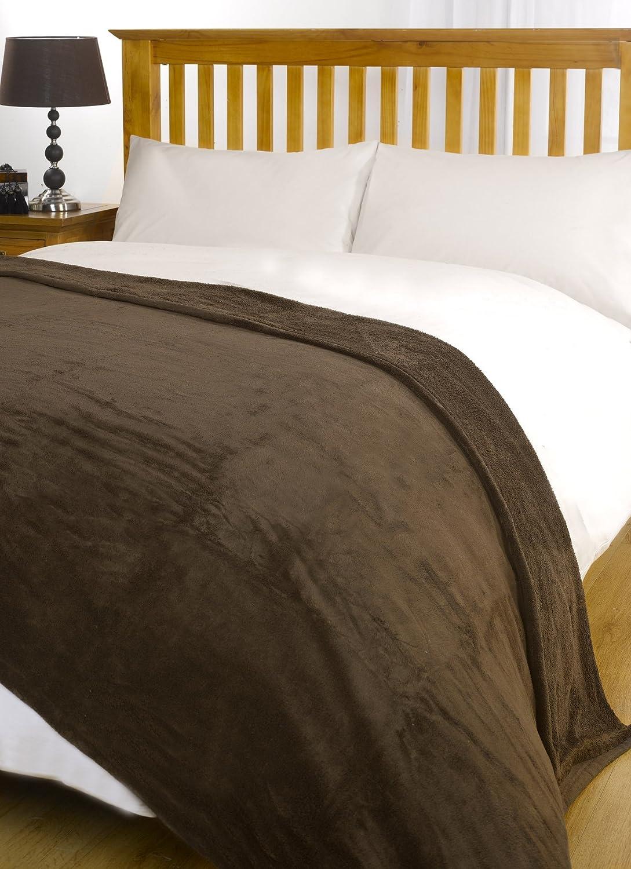 CHOCOLATE BROWN Large Size Super Soft Snug Fleece Blanket Bed