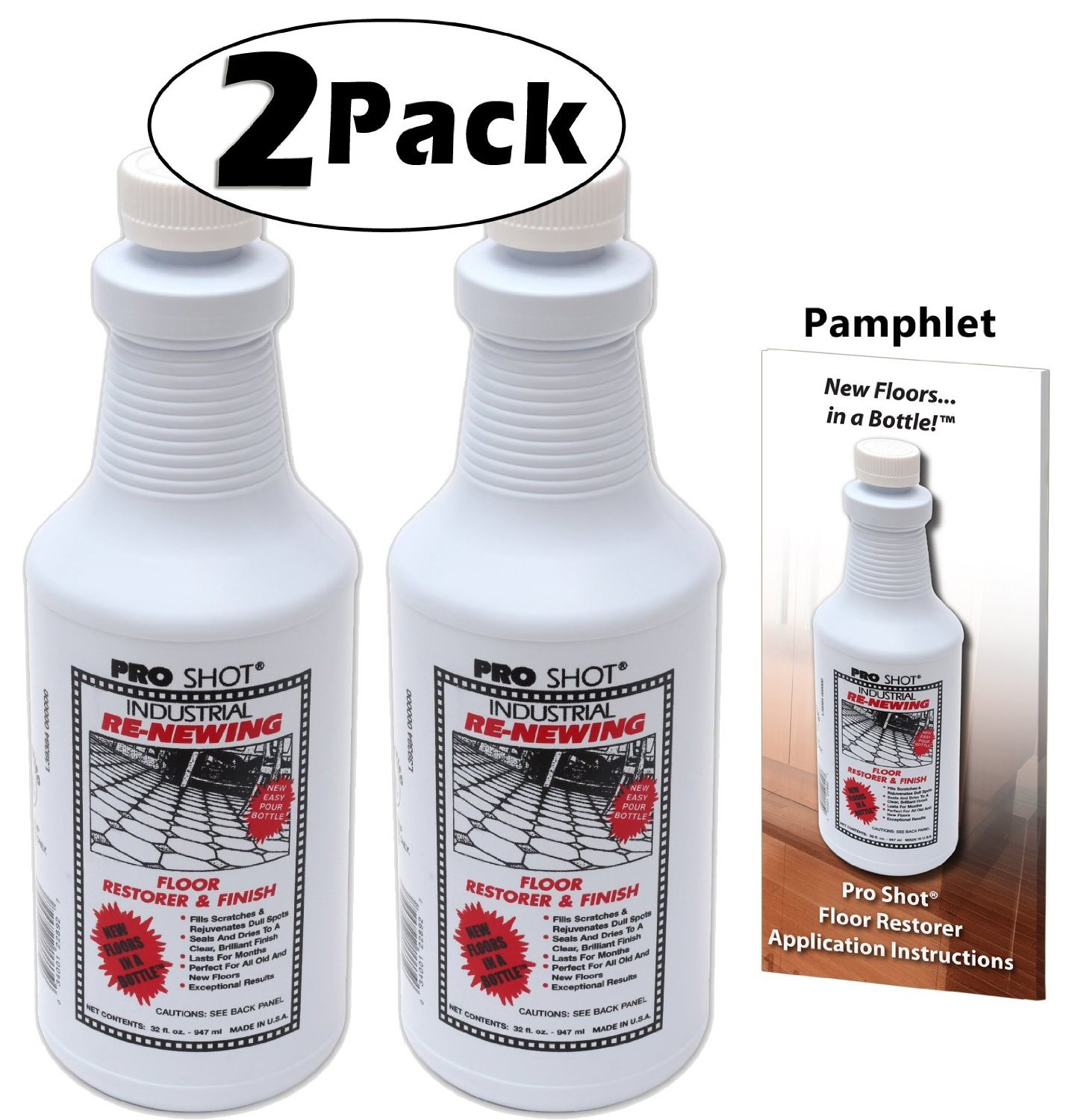 2 PACK Pro Shot Industrial Re-Newing Floor Restorer And Finish (64 oz. - 32 oz. each) Petrochemical-Free Formula by PRO SHOT