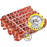Rib Rack Stainless Steel – 6-Rib Capacity! Integrated Temperature Probe Holder - Never Risk Burnt Ribs Again! 100% Food-Safe,