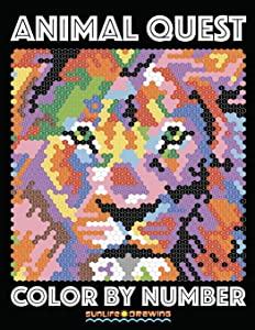 ANIMAL QUEST Color by Number: Activity Puzzle Coloring Book for Adults Relaxation & Stress Relief (Coloring Quest Books) (Volume 1)