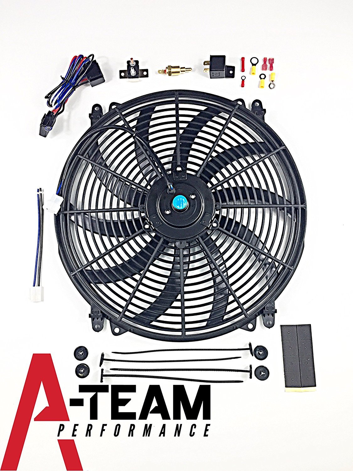 A Team Performance 140041 16 Heavy Duty 12v Radiator Electric Fan Relay Wiring Diagram As Well Wide Curved S Blade Thermostat Kit 3000 Cfm Reversible Push Or Pull With