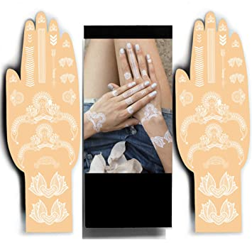 f5f6cf6370001 Amazon.com : White Henna Temporary Tattoos - Sexy Tribal Jewels Henna  Designs - Be the Show Stopper by Beautifying your Hands or Feet with  Delicate Henna ...
