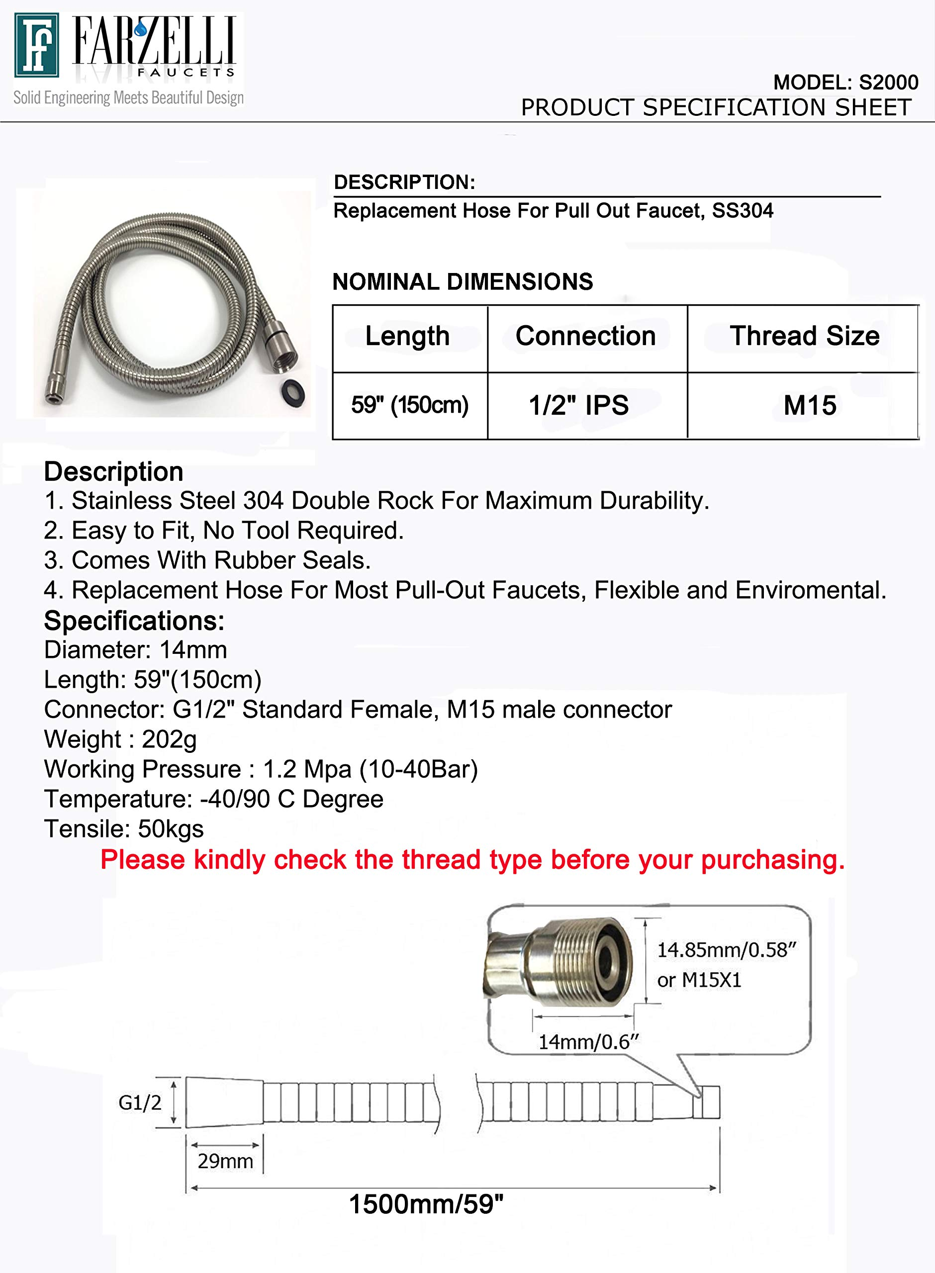 Kitchen Faucet Replacement Hose Stainless Steel S2000 by Farzelli Faucets