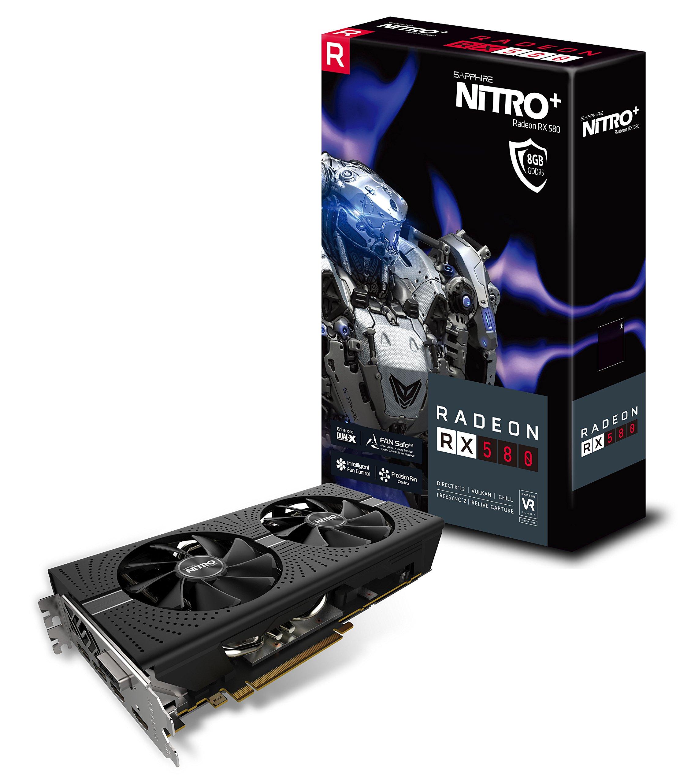 Sapphire 11265-01-20G Radeon NITRO+ RX 580 8GB GDDR5 DUAL HDMI / DVI-D / DUAL DP with backplate (UEFI) PCI-E Graphics Card