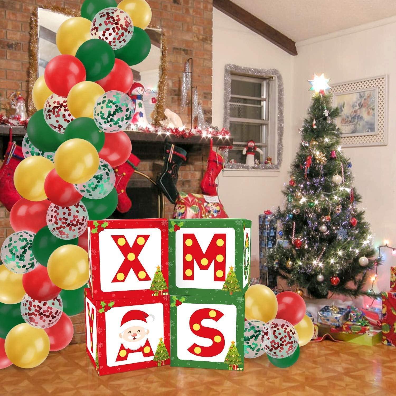 Christmas Joy Xmas sign Xmas Joy Balloon Boxes Blocks Party Decorations Red Green Balloon Garland for Christmas Holiday Winter Party Decorations Home Housewarming Family Gathering Decor