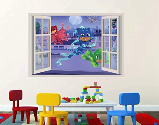 "Pj Masks kids bedroom 3D Window View Decal Graphic WALL STICKER Art Mural 18"","